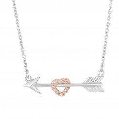 Silver Rhodium with Rose Finish White Cubic Zirconia Arrow Thru Rose Heart
