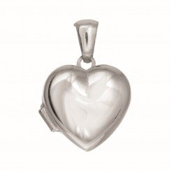 Silver Locket with Rhodium Finish 15mm Shiny Heart