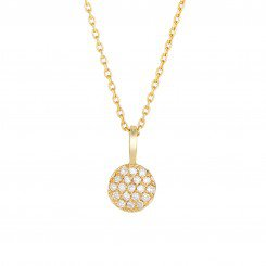14kt Yellow Gold and .10ct of Diamonds Shiny small Round on cable link chain.