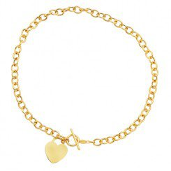 14kt Yellow Gold Diamond Cut Round Chain Link Necklace  with Heart & Toggle Lock