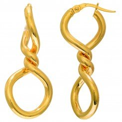 14kt Yellow Gold 34.9x15.3mm Shiny 2-Circle Center Twist Hoop Type Earring