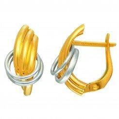 14kt Yellow & White Gold 9.3x17.7mm Shiny 3-Row Frenchback Earring Thru 2-White Ring