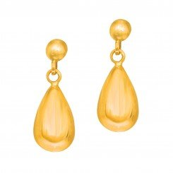 14kt Yellow Gold 7.4x20.0mm Shiny Puffed Teardrop Earring On Post with Butterfly Clasp