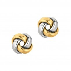 14kt two tone Yellow & White Gold Shiny One Row Square Tube Love Knot Earring