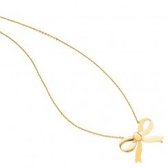 14K Yellow Gold Shiny Cable Chain Link Necklace with Large Bow Pendant