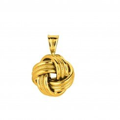 14K Yellow Gold 3 Row Love Knot Pendant with Shiny Textured Cable Link Chain