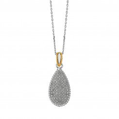 Royal duet Jewelry collection 14K Yellow Gold & Silver Teardrop Pendant 0.31ct Diamond on Necklace