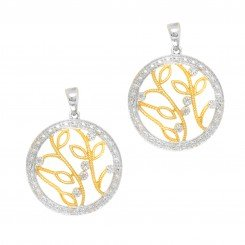 Sterling Silver with Yellow Finish Leaf Branch Pattern Round Drop Earring with 0.08ct Diamond