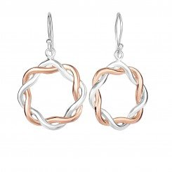 Sterling Silver & Rose Finish Braided Open Circle 2-Tone Drop Earrings