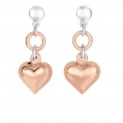 Sterling Silver with Rose Finish Shiny Puff Heart Drop Earring with Butterfly Clasp