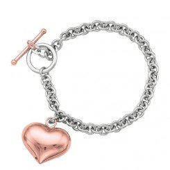 Sterling Silver bracelet with Rolo chain and Heart dnagle