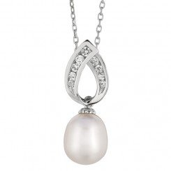 Sterling Silver Rhodium Finish White Pearl Fancy Cubic Zirconia Pendant on Cable Chain