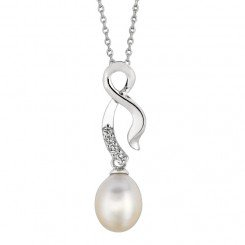 Sterling Silver Rhodium Finish Fancy Twisted Cubic Zorconia White Pearl Pendant on Cable Chain