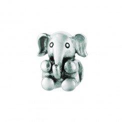 Personality Beads Silver with Oxidized Finish Sitting Elephant Animal Bead