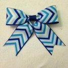 Blue Chevron Bow