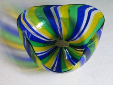 Vintage Murano Glass Lafornasotta Italy Vetro Artistico Art Glass Ribbon Bowl