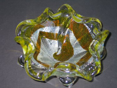 Vintage Murano Art Glass Bowl with Silver Flecks Made in Italy