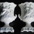 Vintage PAIR SMALL Napcoware Cherub Planter Urns Ivory Pottery Numbered with Foil Tag