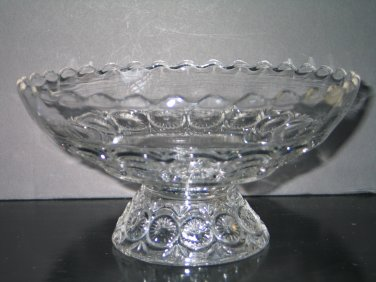 Vintage EAPG Early American Pressed Glass Compote Pedestal Fruit Serving Bowl