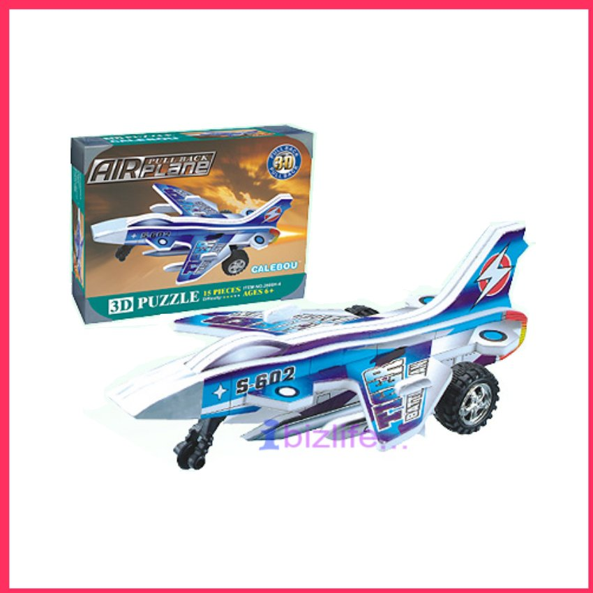 PAPER 3D puzzle DIY jigsaw model Movable Battle Airplane with Pull-back Easter edu kid gift