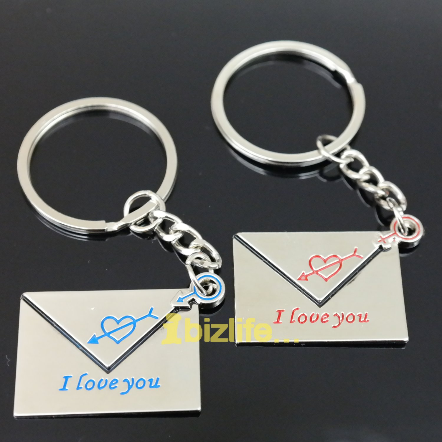 Metal keychain with a pair of Sweet lovely letters to LOVER as gift