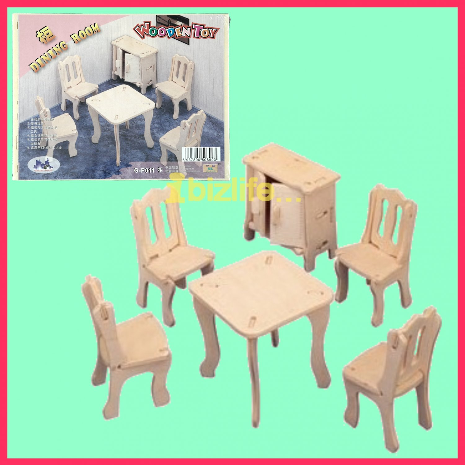 Wooden 3D puzzle-DINING ROOM FURNITURE as DIY jigsaw Children educational Toy gift (WP03)