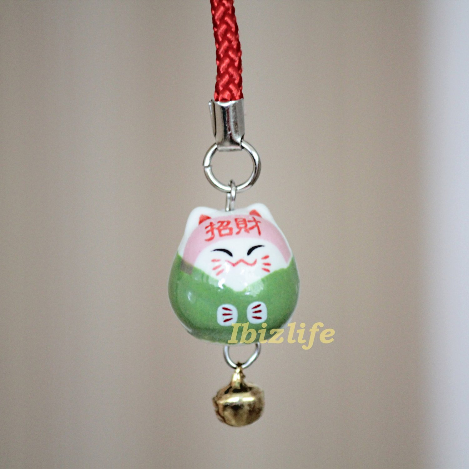 Blessing Lucky BELL CHARM- (Maneki Neko) with Chinese Blessing words WEALTH (bbc03)