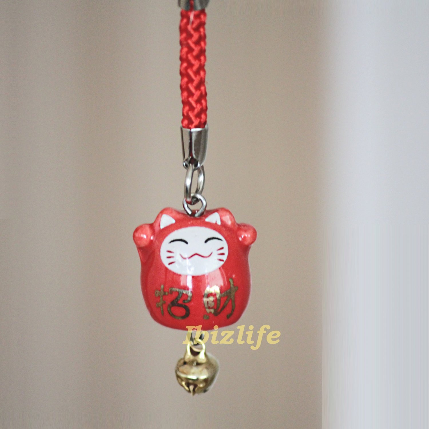 Blessing Lucky BELL CHARM- (Maneki Neko) with Chinese Blessing words WEALTH (bbc04)