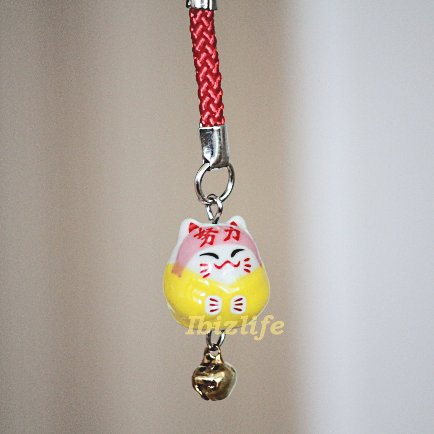 Blessing Lucky BELL CHARM- (Maneki Neko) with Chinese Blessing words WORK GREAT (bbc06)