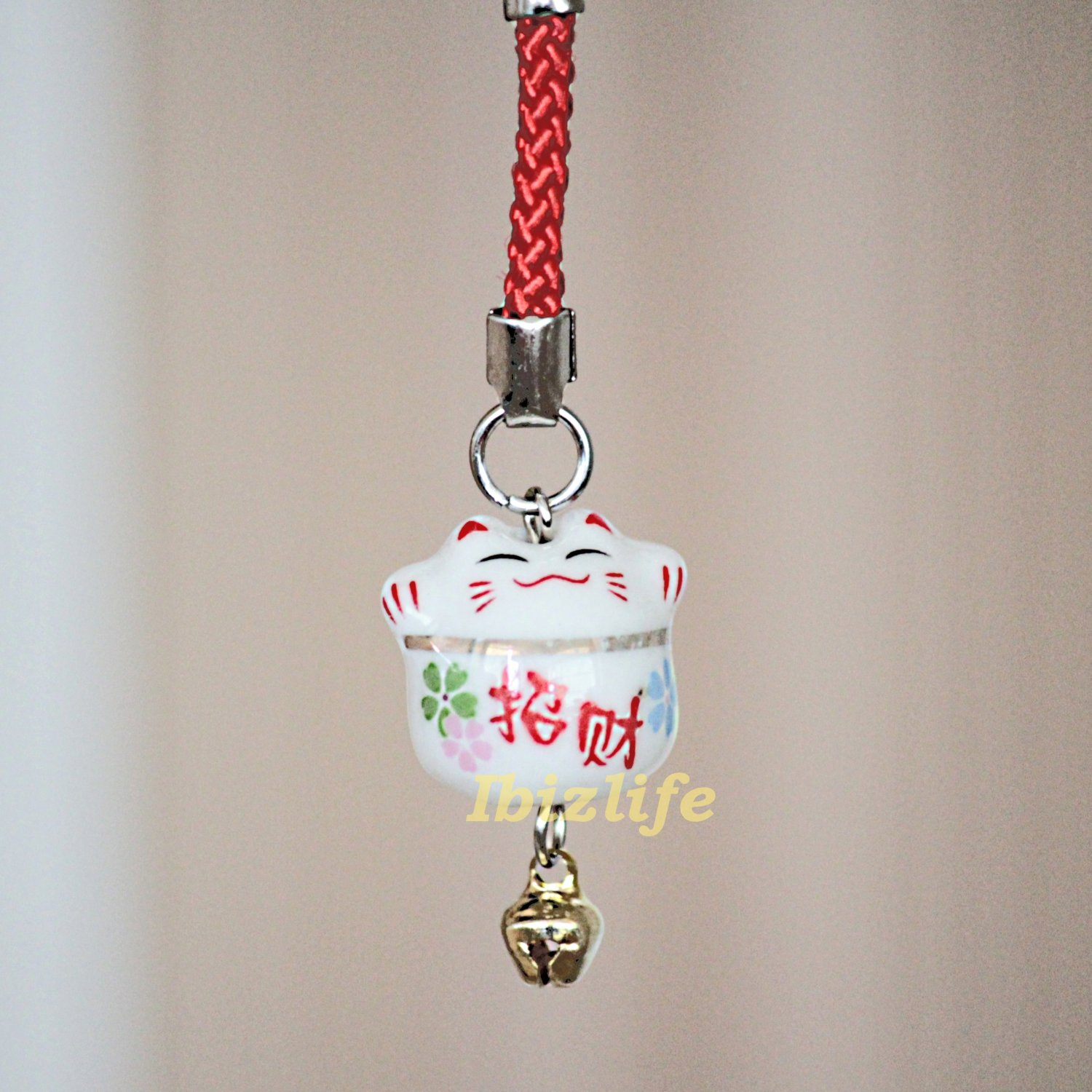 Blessing Lucky BELL CHARM- (Maneki Neko) with Chinese Blessing words WEALTH (bbc08)