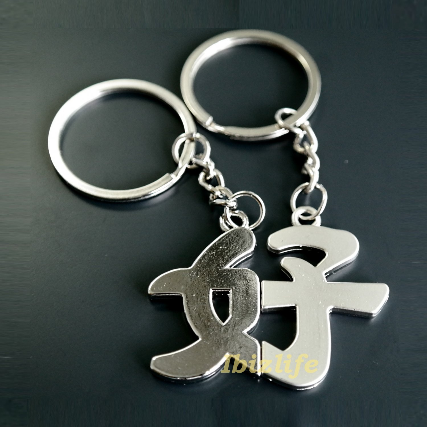 Magnetic Metal keychain with a pair of Chinese letters to GOOD (kc11)
