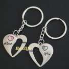Metal keychain - a pair of keychains with 2 HEART shape LOVE YOU (kc14)