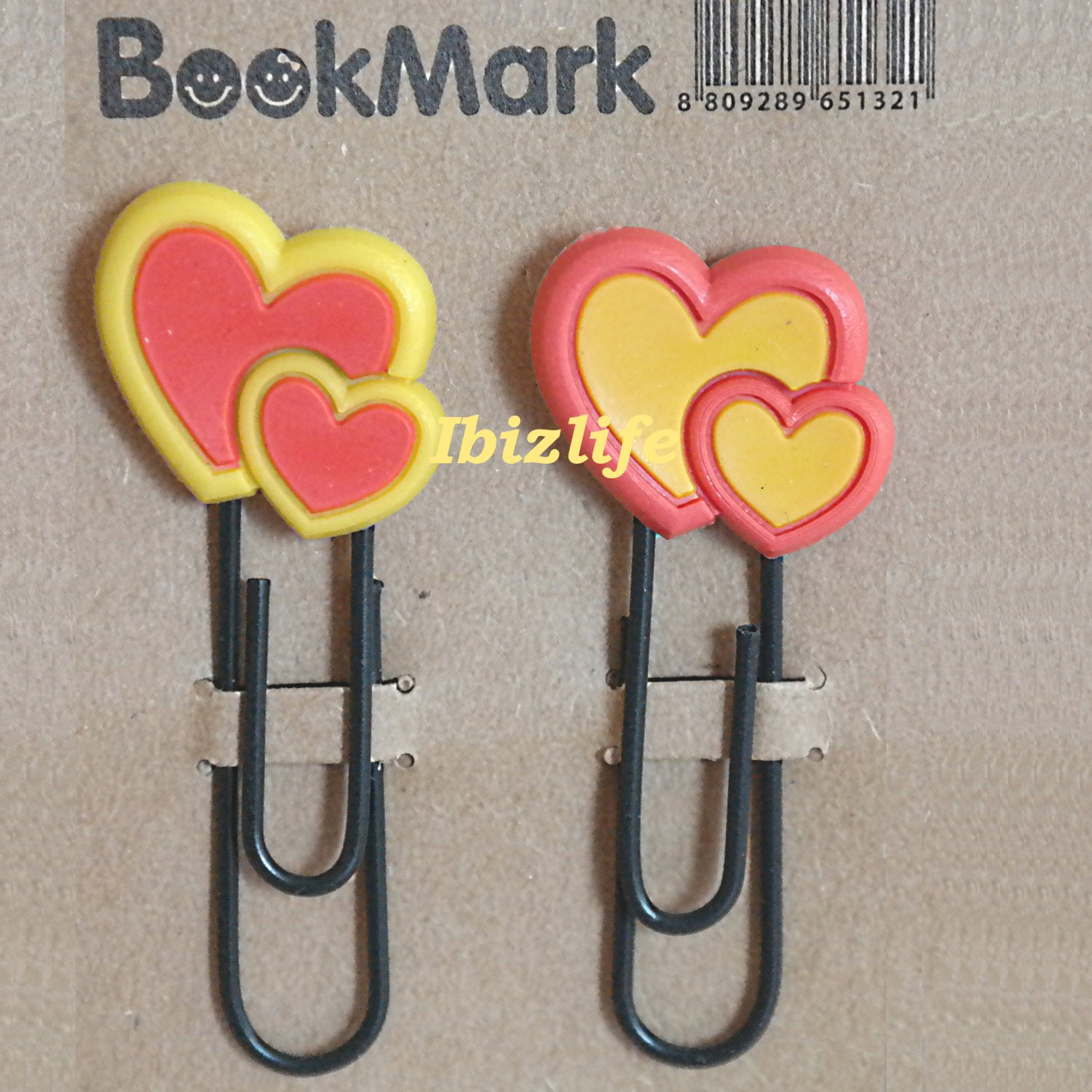 A pair of clip with colorful bookmark:colorful Heart style flower bookmark (bm04)