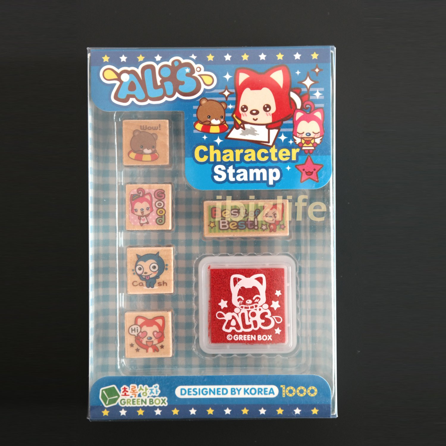 Complete set of 5 Rubber Stamps in Wooden Block with red ink pad - (WS09)