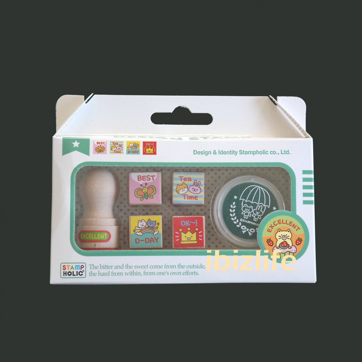 Complete set of 5 Rubber Stamps in Wooden Block with green ink pad - (WS10)