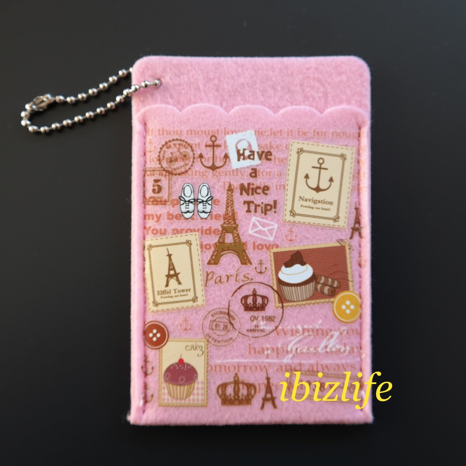 Fashion 2-sides pocket for cards with various beautiful tourist images (FP03)