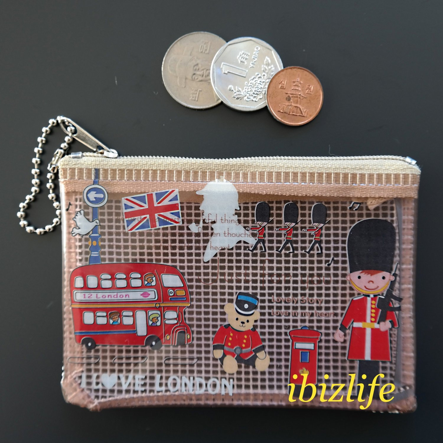 Fashion pocket for coins or cards with Love London Printing (FP06)