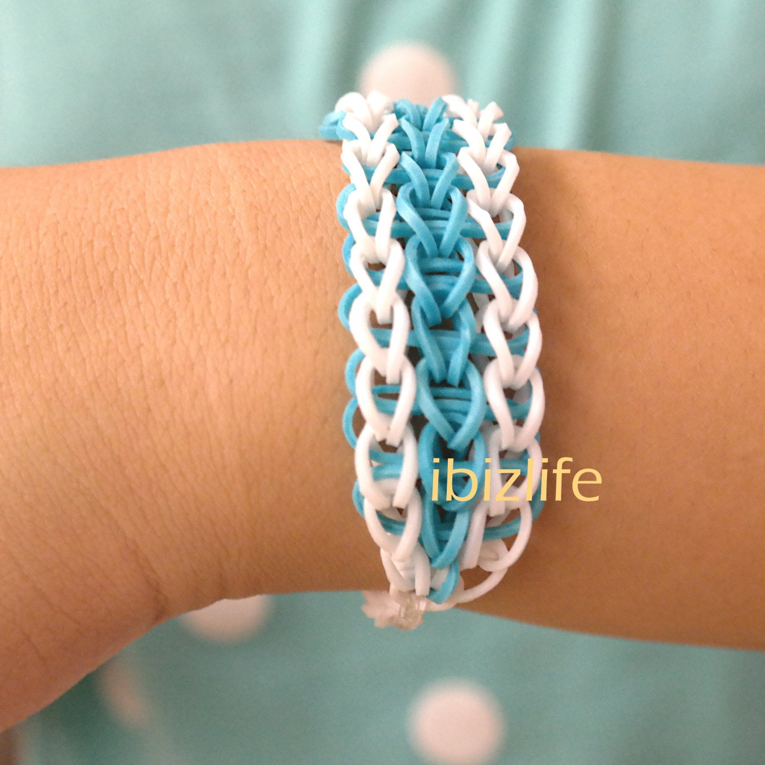 White-Blue Triple Single bracelet (Free shipped) rainbow loom (RL03)