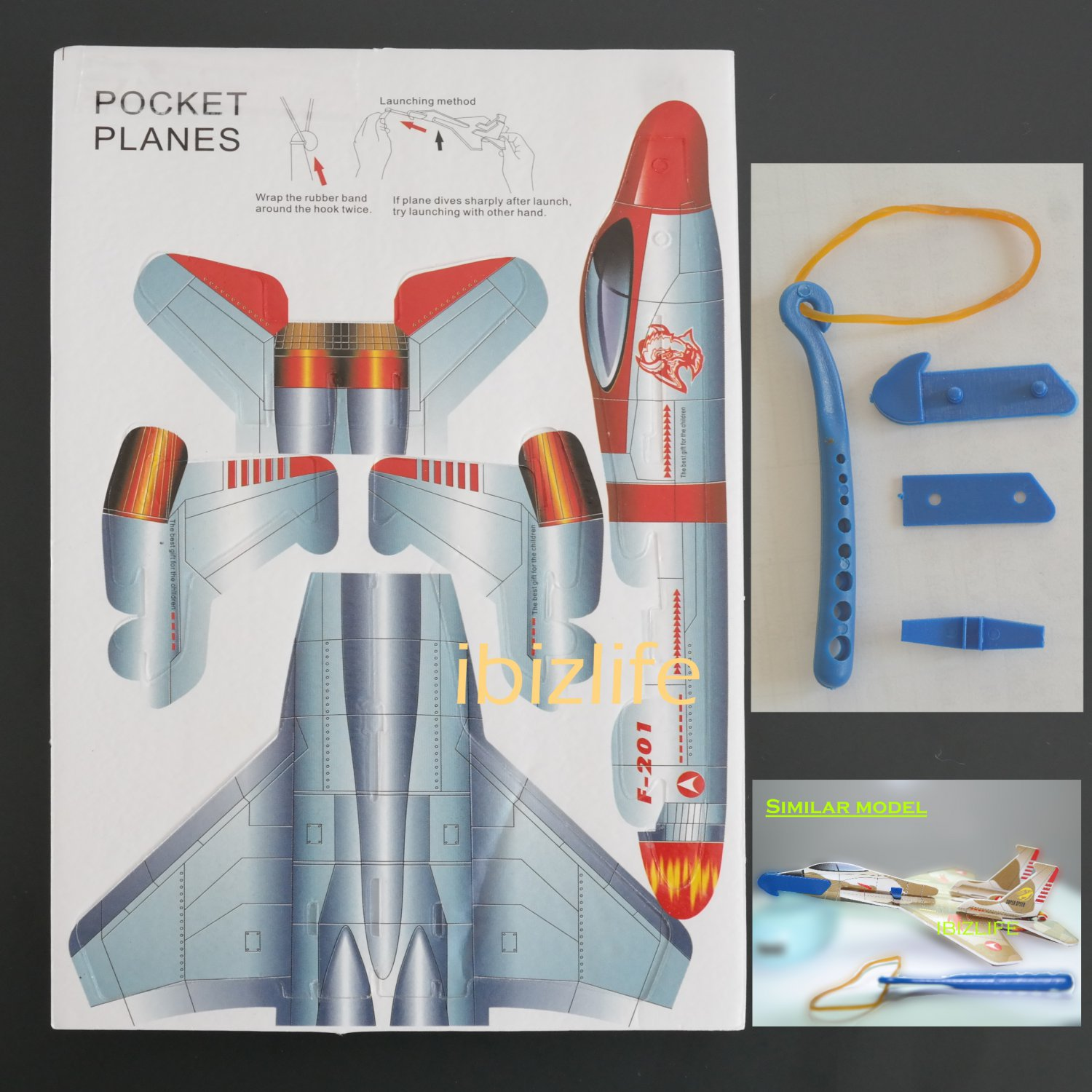3D DIY Paper model flying pocket planes as gift for children and kids F-201   (pc37)