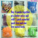 RAINBOW LOOM RUBBER BAND REFILL 8-color packs with total 4800 bands (RL14)