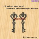 A pair of metal charms with brown color PRINCESS MAGIC WAND for Fantasy Land (bc12)