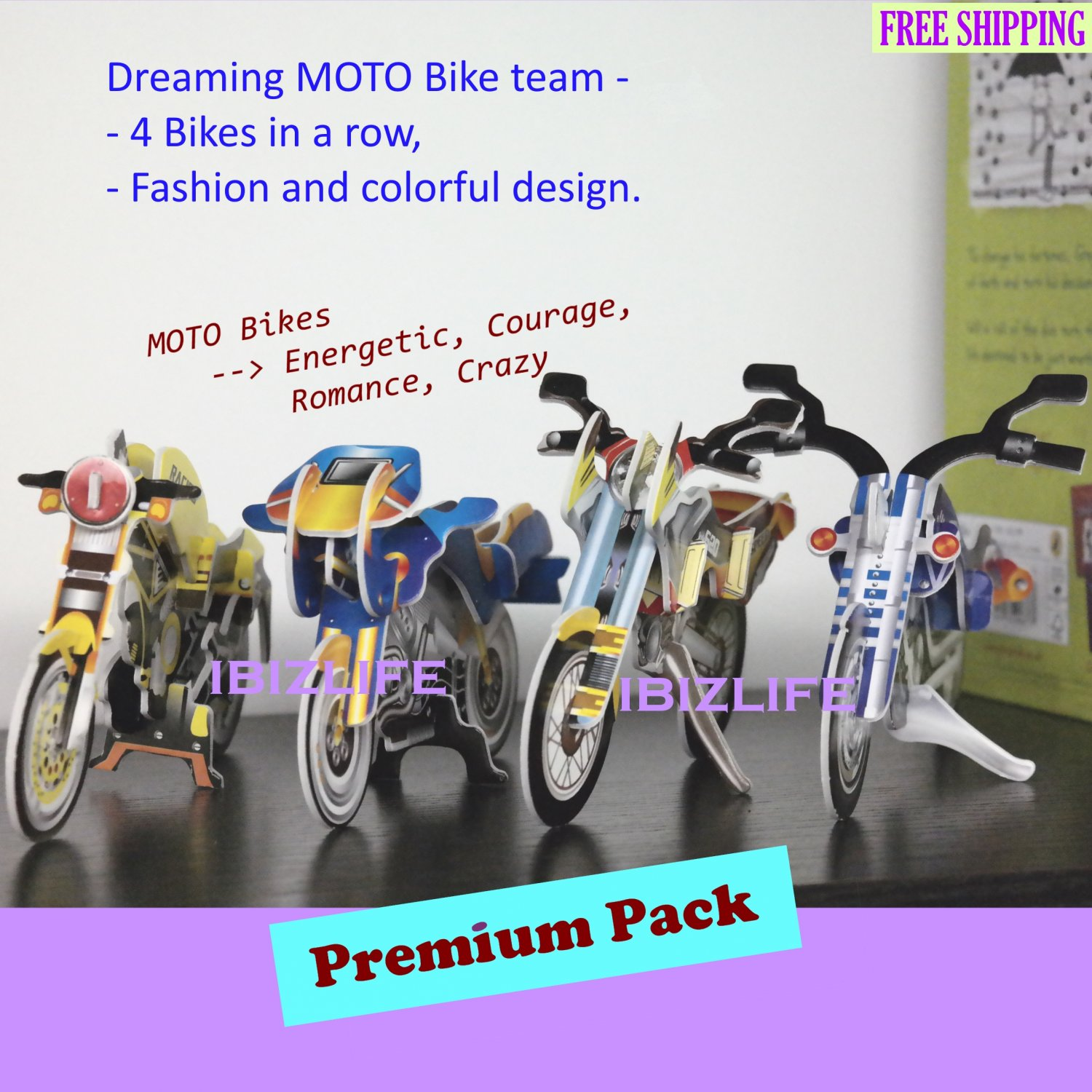 2 SETs of 3D PUZZLE DIY jigsaw model Moto Bikes gang as gift - Yellow & Blue color MOTOs  (PC41)