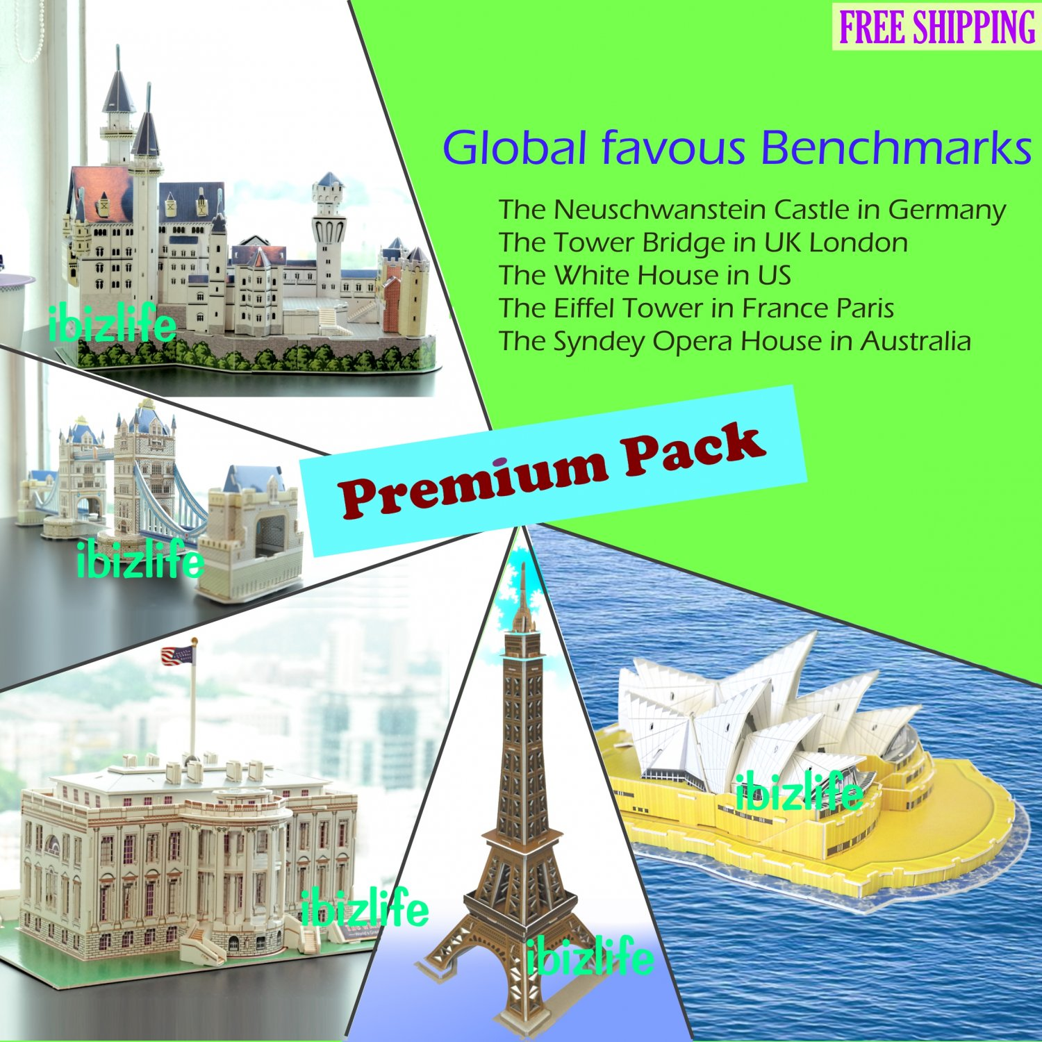 5 Global Benchmarks 3D PUZZLE DIY jigsaw model in a Premium Packs as gift & Home Deco (PC46)