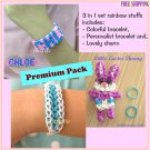3 in 1 set Rainbow loom Handmade Lovely Carton Charm & 2 Bracelets (RL25)