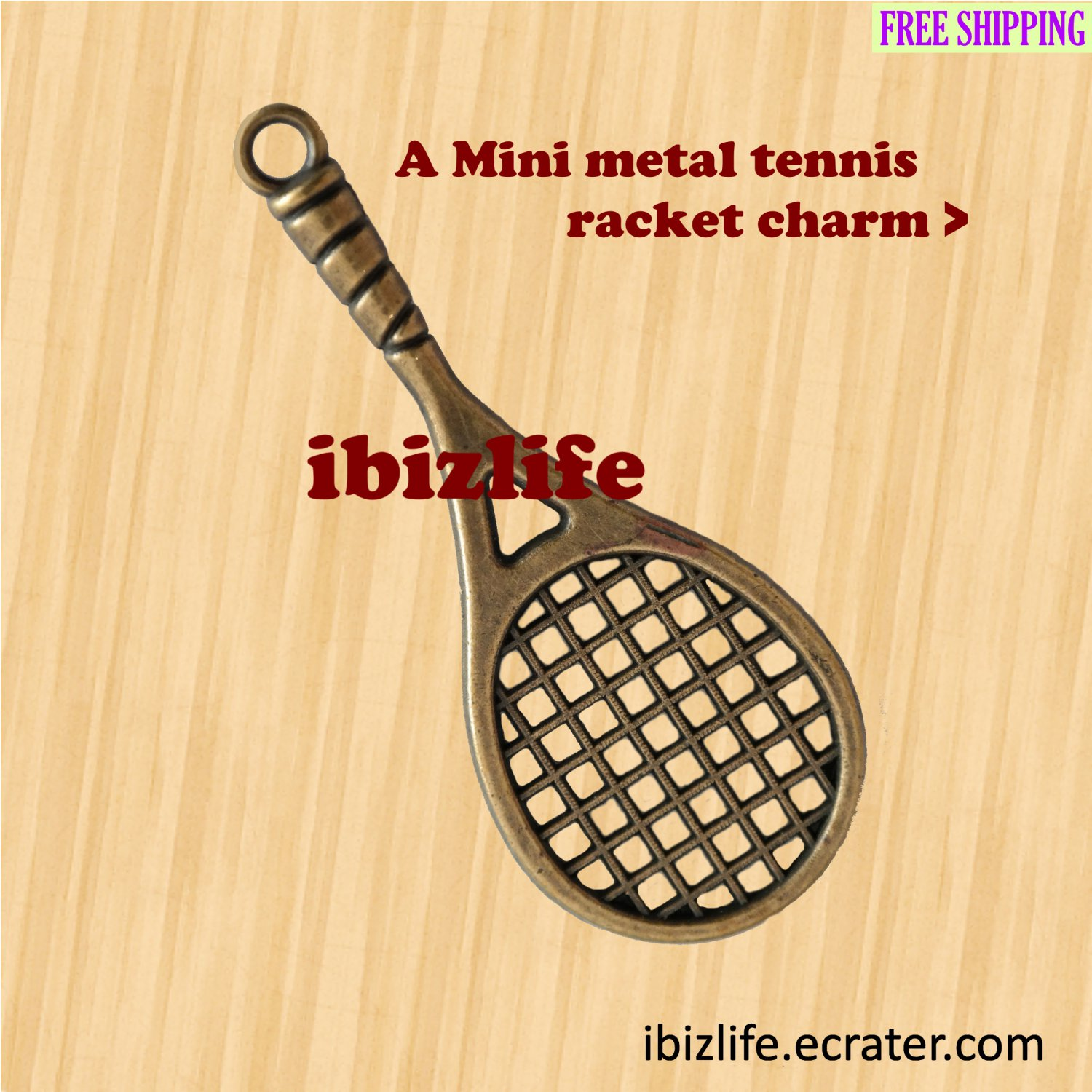 A metal charms with bronze color mini tennis racket (bc16)