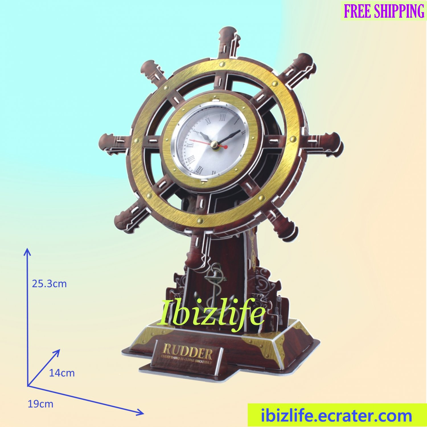 Exquisite Rudder Desktop Table Clock in 3D puzzle 54 pcs DIY model as decoration/ gift item (pc67)