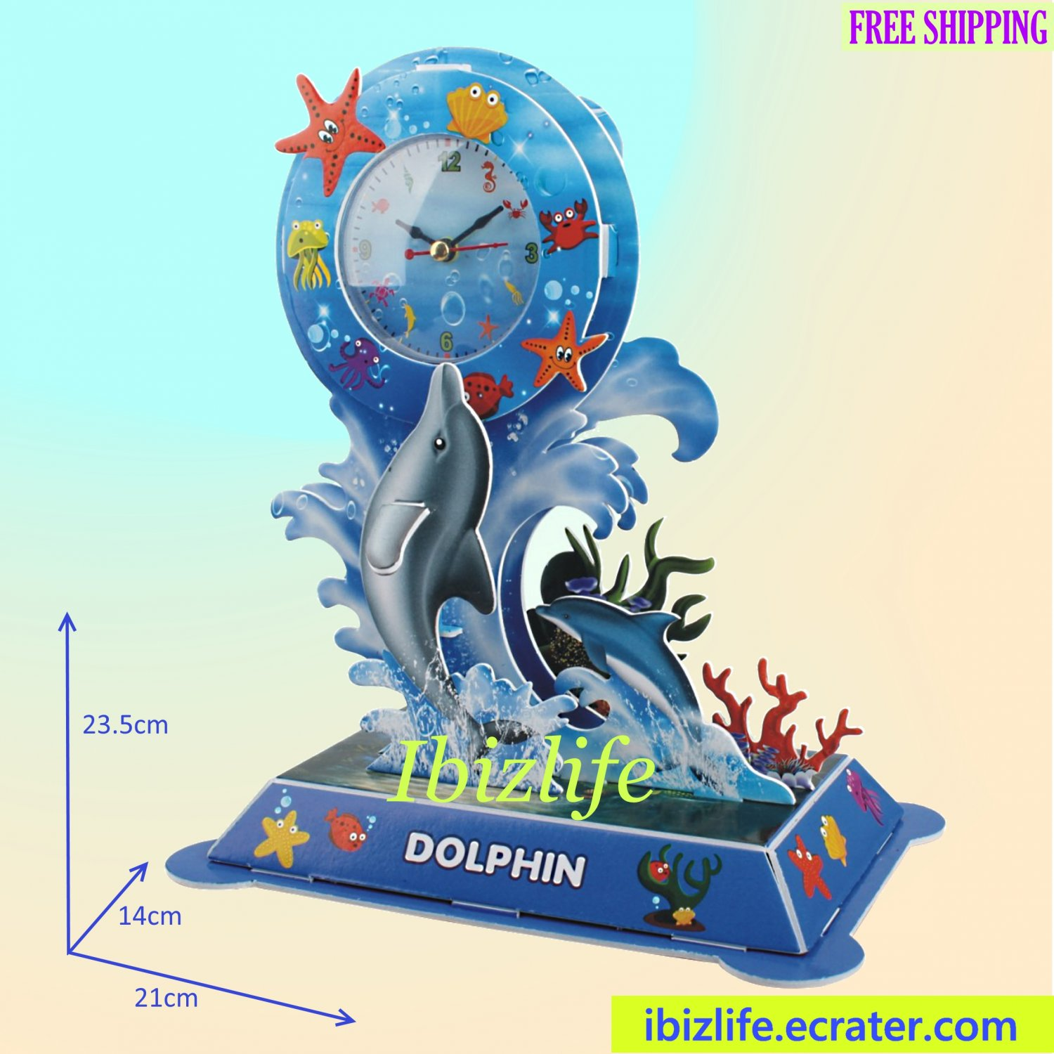 Exquisite Dolphin Desktop Table Clock 3D puzzle 19 pcs DIY model as decoration/ gift item (pc68)