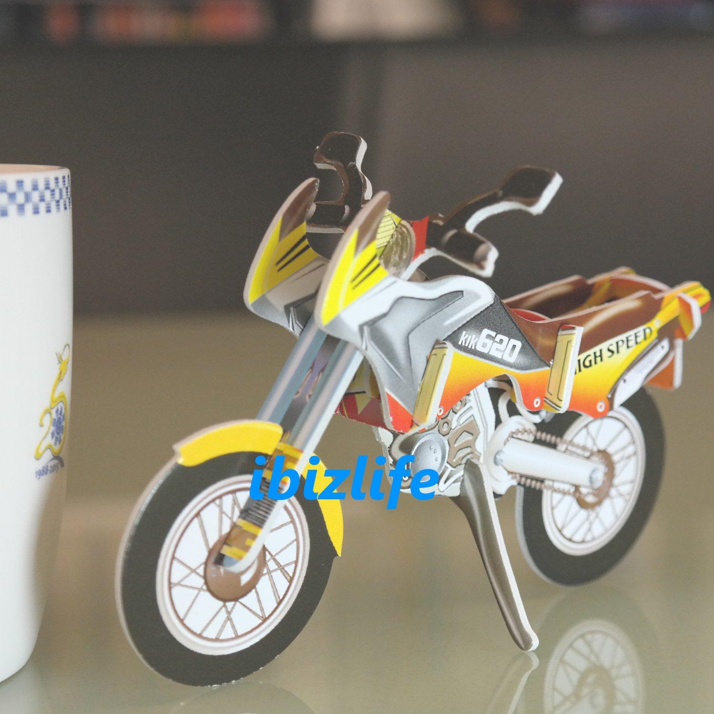 PAPER 3D puzzle DIY jigsaw craft model Bike (2 per pack)  as gift - Yellow MOTO