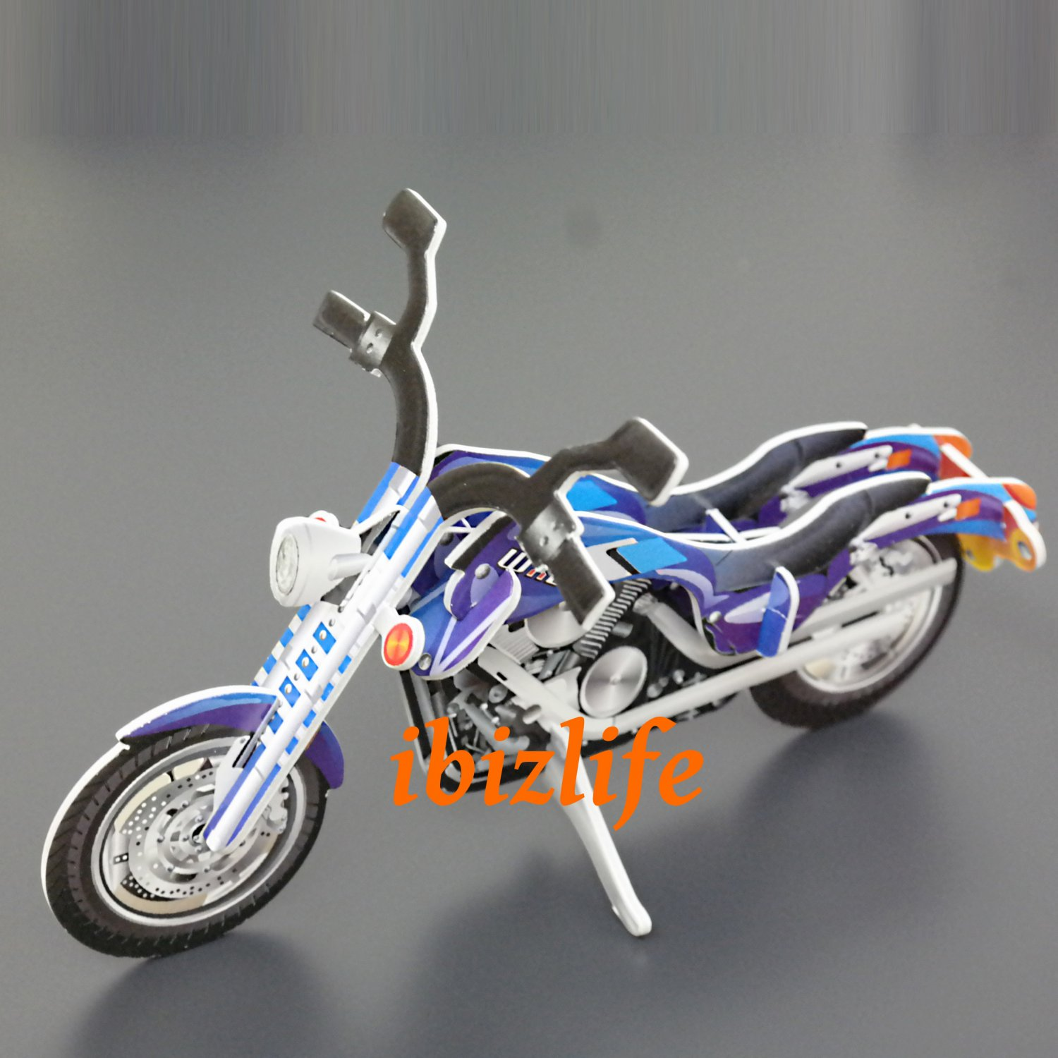PAPER 3D puzzle DIY jigsaw craft model Bikes (2 per pack)  as gift  - Blue MOTO