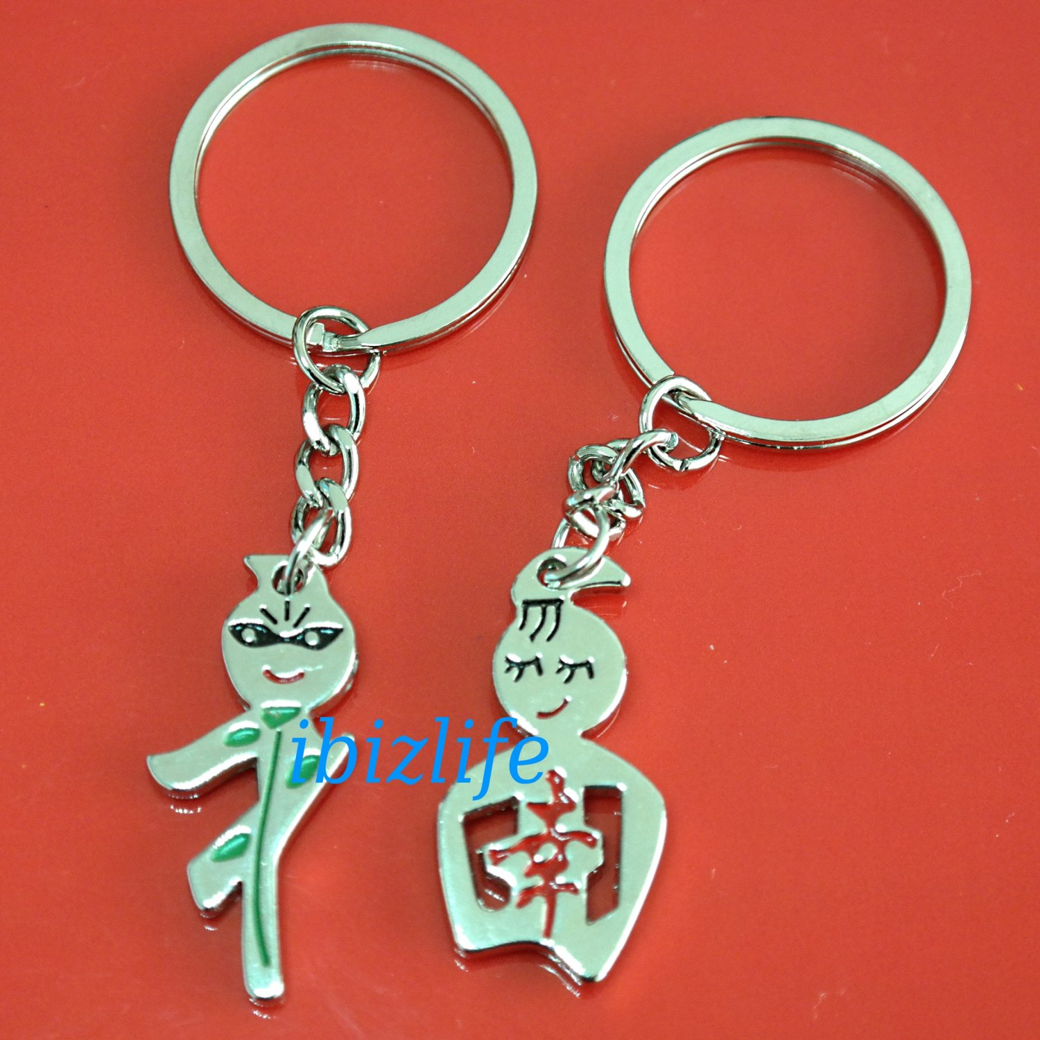 Metal keychain / Keyrings with a pair of Blessing Chinese letter representing FORTUNE (kc20)